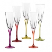 Fusion Color Set 6 Calici Flute Champagne 17 cl Crystal Glass
