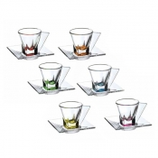 Fusion Color Set 6 Tazzine Caffè C/Piattino Crystal Glass