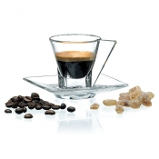 Fusion Set 2 Tazzine Caffè C/Piattino Crystal Glass