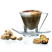 Fusion Set 2 Tazzine Cappuccino C/Piattino Crystal Glass