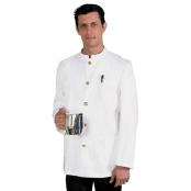 Jacket Unisex Banconiere White With Stand Up Collar