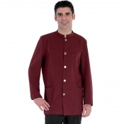 Jacket Banconiere Burgundy With Stand Up Collar
