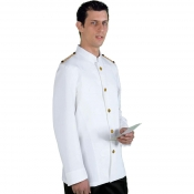Jacket Unisex Barman White With Golden Epaulets