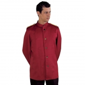 Jacket Unisex BarmanBurgundy With Braidings Stand Up Collar