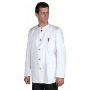 Jacket Unisex Banconiere White With Golden Epaulets