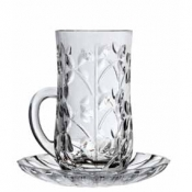 Laurus Set 6 Bicchierini C/Piattino Crystal Glass