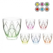 Ninphea color Set 6 Bicchieri Of Vino 26 cl Crystal Glass